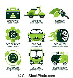 flat icon set for eco urban traffic - flat icon set for...