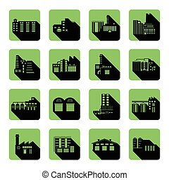 Flat Icon set of distribution warehouse and factories. Silhouette Factory distribution warehouse icon illustrations.
