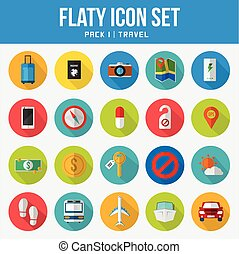 Flat Icon Set Pack Travel