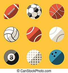 Flat icon set. Sport ball