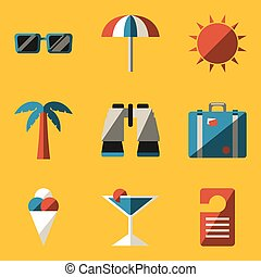 Flat icon set. Travel