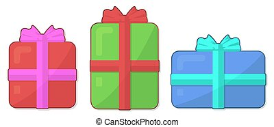 Flat icon set with gift boxes on white background
