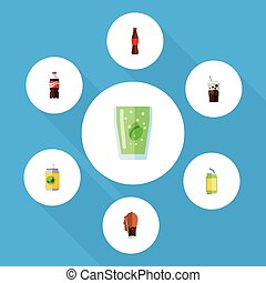 Flat Icon Soda Set Of Cup, Bottle, Soda And Other Vector Objects. Also Includes Beverage, Fizzy, Carbonated Elements.