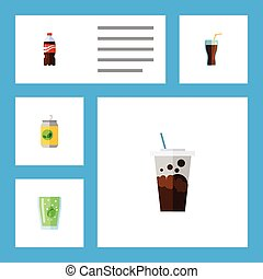 Flat Icon Soda Set Of Cup, Fizzy Drink, Bottle And Other Vector Objects. Also Includes Fizzy, Beverage, Drink Elements.