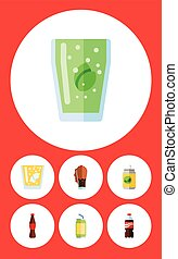 Flat Icon Soda Set Of Cup, Lemonade, Beverage And Other Vector Objects. Also Includes Fizzy, Cup, Lemonade Elements.