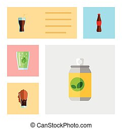 Flat Icon Soda Set Of Fizzy Drink, Cup, Beverage And Other Vector Objects. Also Includes Cup, Carbonated, Soda Elements.