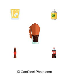 Flat Icon Soda Set Of Lemonade, Bottle, Beverage And Other Vector Objects. Also Includes Beverage, Fizzy, Bottle Elements.