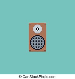 Flat Icon Speaker Element. Vector Illustration Of Flat Icon Audio Box Isolated On Clean Background. Can Be Used As Speaker, Audio And Box Symbols.
