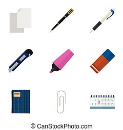 Flat Icon Stationery Set Of Copybook, Fastener Page, Nib Pen And Other Vector Objects. Also Includes Blade, Blank, Notepad Elements.