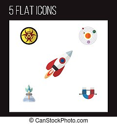 Flat Icon Study Set Of Attractive Force, Milky Way, Danger And Other Vector Objects. Also Includes Danger, System, Spaceship Elements.