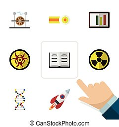 Flat Icon Study Set Of Chemical, Spaceship, Irradiation And Other Vector Objects. Also Includes Engine, Rocket, Electricity Elements.
