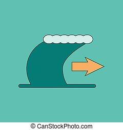 flat icon stylish background tsunami movement - flat icon on...