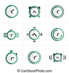 Flat icon Time Clock Icons Set, Vector Design