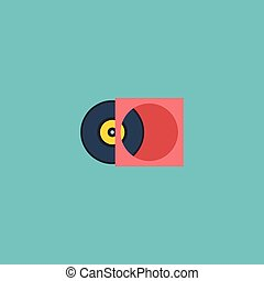 Flat Icon Vinyl Element. Vector Illustration Of Flat Icon Retro Disc Isolated On Clean Background. Can Be Used As Vinyl, Retro And Disc Symbols.