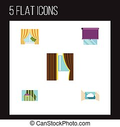 Flat Icon Window Set Of Curtain, Glass Frame, Cloud And...