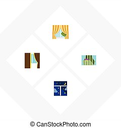Flat Icon Window Set Of Glass Frame, Frame, Glass And Other...