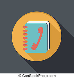 flat icon with a shadow, phone address book - flat icon with...