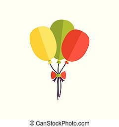 Flat icon with bunch of three birthday balloons