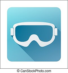 Flat icon with Classic old school snowboard ski goggles. Vector illustration isolated on white background