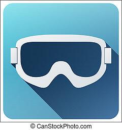 Flat icon with Classic snowboard ski goggles. - Flat icon...