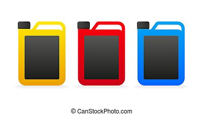 Flat icon with different color canister on white background for packaging design. Vector illustration.
