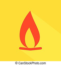 Flat icon with fire sign and long shadow. - Vector graphic ...