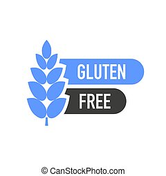 Flat icon with lactose gluten gmo sugar free. Organic signs. Vector illustration.