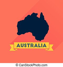 Flat icon with long shadow Australia map