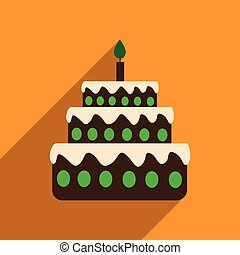 flat icon with long shadow birthday cake