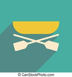 flat icon with long shadow boat oars