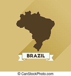 Flat icon with long shadow Brazil map