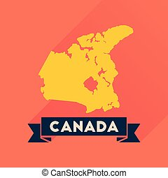 Flat icon with long shadow Canada map