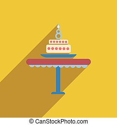 flat icon with long shadow candle cake