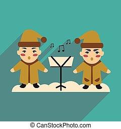 flat icon with long shadow children sing carols