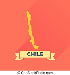 Flat icon with long shadow Chile map