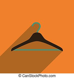 Flat icon with long shadow Clothes hanger