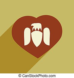 flat icon with long shadow eagle heart
