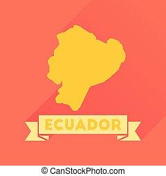 Flat icon with long shadow Ecuador map