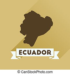 Flat icon with long shadow Ecuador map