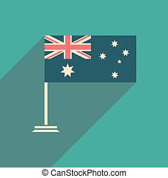 flat icon with long shadow flag of Australia