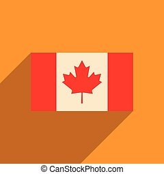 flat icon with long shadow flag of Canada