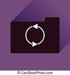 Flat icon with long shadow folder arrow