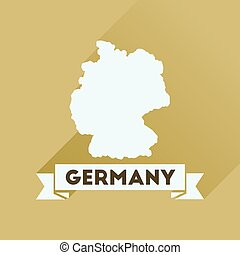Flat icon with long shadow  Germany map