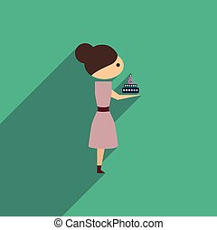 flat icon with long shadow girl with cake