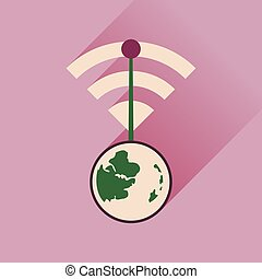 Flat icon with long shadow Globe internet