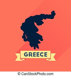 Flat icon with long shadow  Greece map