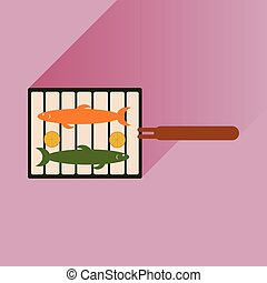 flat icon with long shadow grilled fish