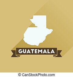 Flat icon with long shadow Guatemala map