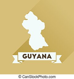 Flat icon with long shadow Guyana map