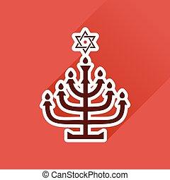 Flat icon with long shadow Hanukkah candleholder